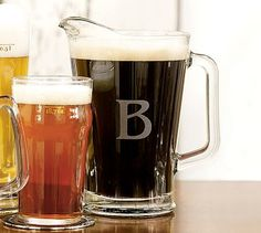 Monogrammable Beer Pitcher #potterybarn