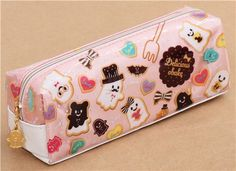 pink and white ghost cookie biscuit Halloween pouch pencil case - Pencil Cases - Stationery - kawaii shop modeS4u