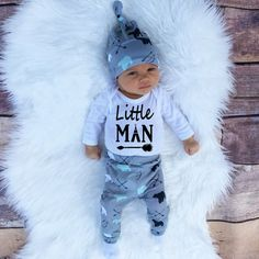 >> Click to Buy << 3PCS Little Man Infant Baby Boys Boys Clothing Set Bear Beanis Hat Long Sleeve Baby Jumsuit Top T-shirt Baby Harem Pants #Affiliate