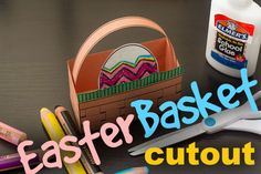 Super easy Easter basket cutout for kids and a great Easter decoration for around the house