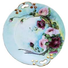 Gorgeous JC Bavaria & Osborne Studio of Chicago 1914 Hand Painted Forget Me Not Cup, Saucer, & Plate Floral Set by Asbjorn Osborne Red And Pink Roses, Hand Painted Plates, Japanese Porcelain, China Painting, Chocolate Pots, Tea Party, Bavaria, Pottery, China Grove