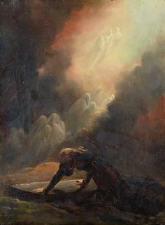"""The heroine, poised above the crypt of Merlin, surrounded by spirits conjured by Merlin's sage-apprentice Melissa. """"Bradamante at Merlin's Tomb"""", by Alexandre-Evariste Fragonard, c1820."""