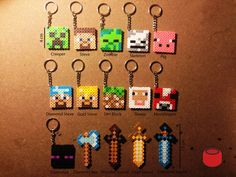 Minecraft Magnets, Charms and Keychains from Perler Beads