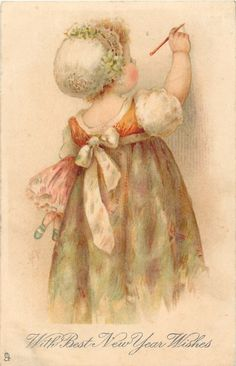 Helen Jackson - English- vintage New Year postcard.a wonderful sketch of this sweet girl. Best New Year Wishes, Best Christmas Wishes, Christmas Fun, Vintage Greeting Cards, Vintage Christmas Cards, Vintage Ephemera, Look Vintage, Vintage Prints, Vintage Pictures
