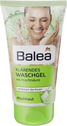 Balea Klärendes Waschgel, 150 ml  Das Balea Klärendes Waschgel mit Fruchtsäure ist speziell auf Mischhaut und zu Unreinheiten neigende Haut abgestimmt. Durch den leichten Peel-Effekt der milden Fruchtsäure werden alte Hautschu?ppchen entfernt, die Poren erscheinen weniger deutlich. Die milde Formulierung mit Süßholzextrakt wirkt hautberuhigend, zusätzlich schützt Panthenol die Haut vor dem Austrocknen jedoch mit PHENOXYETHANOL