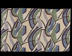 This printed linen furnishing fabric was designed and sold by The Omega Workshops Ltd. Founded in 1913 by Roger Fry, Omega Workshops was a group of artists (including Vanessa Bell and Duncan Grant) who designed furniture, pottery, carpets, textiles, stained glass and whole schemes of interior decoration. The Omega textile designs were ahead of their time and set a fashion for abstract and geometric patterns.