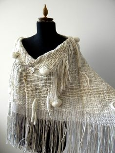 FLEECE POMPOM handwoven cape / poncho WITH BROOCH (I09/078).