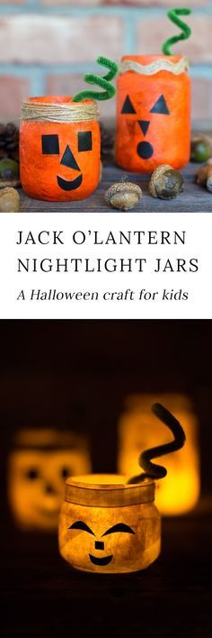 Kids of all ages will love creating a colorful and fun Jack O'Lantern Nightlight Jar for Halloween. This glowing Halloween craft is perfect for school or home. #halloween via @https://www.pinterest.com/fireflymudpie/