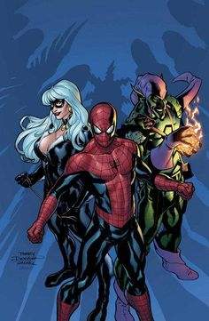 Spider-Man, Black Cat and Green Goblin by Terry Dodson
