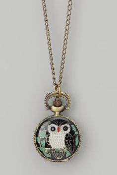 Black Owl Pocket Watch Pendant Necklace. I got one for christmas and so did my cousin we Love them.