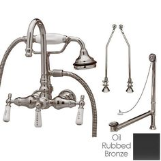 Randolph Morris Clawfoot Tub Wall Mount Gooseneck Faucet with Handshower - Tub Drain and Supply Lines Complete Set