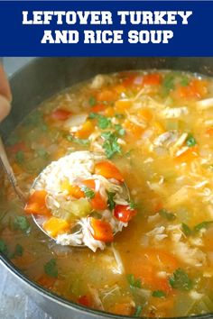 One-Pot Leftover Turkey Rice Soup a quick and easy recipe for chilly days. This hearty homemade soup is loaded with. Leftover Chicken Soup, Homemade Turkey Soup, Turkey Rice Soup, Turkey Stew, Leftover Turkey Recipes, Leftovers Recipes, Recipe For Turkey Soup, Easy Turkey Soup, Turkey Brine