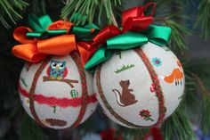 Christmas Handmade Hanging Ornaments, Handcrafted Baubles with Woodland Animals, Ornaments for Christmas Tree, Xmas Balls for Home Decor Handmade Ornaments, Handmade Christmas, Woodland Animals, Forest Animals, Christmas Balls, Christmas Ornaments, Unique Gifts, Best Gifts, Cool Gifts For Kids