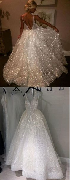 Charming Backless Sequined A Line Long Prom Dresses,Formal Women Dress SHORT RECEPTION DRESS