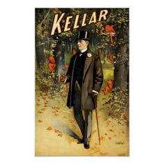Magician Harry Kellar In Woods With Demons vintage Poster - vintage gifts retro ideas cyo