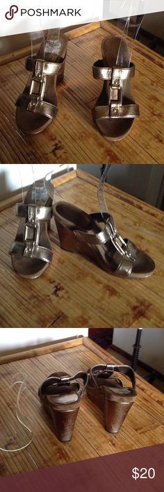 "NINE WEST BRONZE SADALS-4"" heels Cannot get label on insole off. Nine West Shoes Sandals"