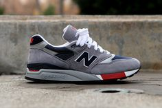 New Balance 998 Grey/Navy/Red