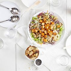 You won't miss out on any delicious flavors when you swap traditional chicken for Romero's Red-Hot Saucy Tofu in her Backyard Buffalo Ranch Caesar Salad. This simple slaw includes vitamin A-rich carrots, antioxidant-rich red cabbage, and low-calorie celery, all of which lend a satisfying crunch next to extra-firm tofu or tempeh.