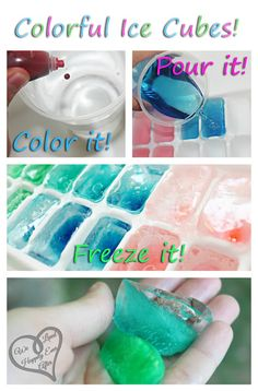 Make your own ice cubes colorful by adding food dye!  I saw this idea on Pinterest, using kool aid. I try to stay away from extra sugar if I can, so instead, I just used straight water and some food coloring drops.