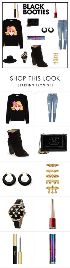"""Back to Basics: Black Booties"" by irockcrowns ❤ liked on Polyvore featuring Chinti and Parker, River Island, Kristin Cavallari, Chanel, Palm Beach Jewelry, Luv Aj, Yves Saint Laurent, Urban Decay and Off-White"