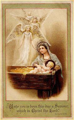 #nativity #Jesus (antique postcard) Nativity Sets, Birth Of Jesus, Holy Night, Printable Paper, Sunday School, Holi, Vintage Christmas, Mona Lisa, Paper Crafts