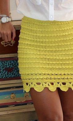 yellow crochet skirt