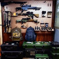 Discover the top 100 best gun room designs featuring cool armories you'll want to acquire. Explore traditional cabinetry to modern shelving security. Airsoft Storage, Nerf Gun Storage, Weapon Storage, Hidden Gun Rooms, Gun Safe Room, Gun Closet, Tactical Wall, Tactical Gear, Reloading Room