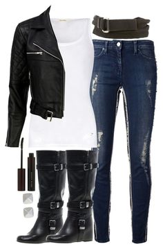 A fashion look from September 2014 featuring white vest, fleece-lined jackets and frayed-hem jeans. Browse and shop related looks. Teen Fashion Outfits, Edgy Outfits, Cute Casual Outfits, Outfits For Teens, Fall Outfits, Runners Outfit, Style Personnel, Mein Style, Looks Black