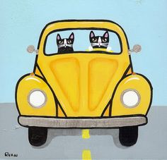"""Volkswagen Road Trip Cats"" by Ryan Conners"