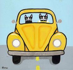 Volkswagen Road Trip Cats Original Folk Art by KilkennycatArt