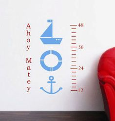 Growth Chart Nautical Decal Kids Sailboat Anchor Lifesaver Decal Boys Bedroom Vinyl Wall Art Graphic Playroom Matte Vinyl Art. $42.00, via Etsy.