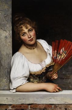The Red Fan - Eugene de Blaas