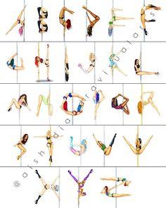 "The complete Polephabet A-Z . . . . #pole #poleart #poledance #poledancing #illustration…"""
