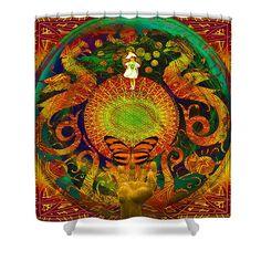 Solar Power Shower Curtain featuring the digital art Solar Enighter by Joseph Mosley