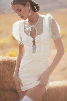 Summer 2018 Ready-To-Wear – For Love & Lemons | Charlotte Eyelet Lace Up Mini Dress-coming soon | Lucile Organza Blouse-coming soon | Heartdrop Earrings | https://forloveandlemons.com/products/heart-drop-earrings