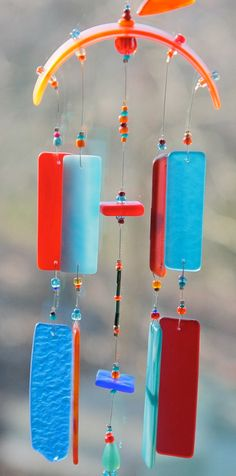 FIRE AND ICE Recycled Beach Glass Wind Chime