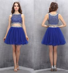 Two Piece Homecoming Dresses,Short Homecoming Dresses,Beading Homecoming Dresses,Royal Blue Prom Gown,2 Piece Party Dresses,Sweetheart dress