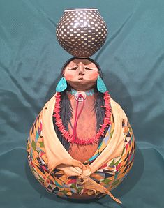 Navajo Pot Lady Gourd Art Figure by Robert Rivera Native American Art, American Indians, Decorative Gourds, Water Bearer, Indian Dolls, Southwest Art, Gourd Art, First Nations, Clay Projects