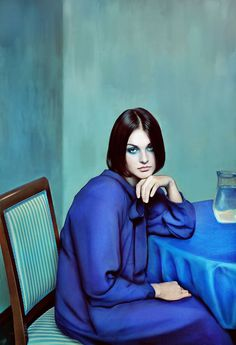 Andrey Yakovlev & Lili Aleeva , Blue Girl, 2011 / 2015 © www.lumas.com/ #Lumas - Composed in blue and green tones with bewitching simplicity, Blue Girl has the viewer completely wrapped around its finger within seconds. Aleeva & Yakovlev's works are impressive in their elegance and originality. High fashion complements the traditions of classical painting to produce stirring artistic moments.