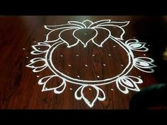 newyear rangoli..Friday special kolam...lakshmi puja rangoli...9 to 5 dots...lotus mandala design... - YouTube