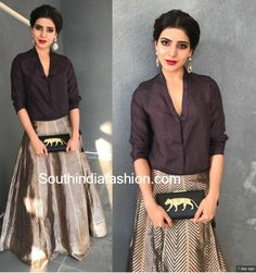 Samantha Ruth Prabhu in Raw Mango...a classy look combining a black silk shirt with a lehenga ❤️