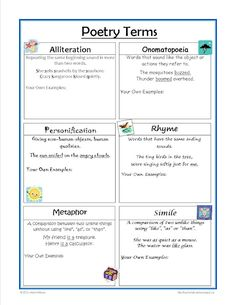 FREE - Poetry Terms worksheet - great for the writing notebook!
