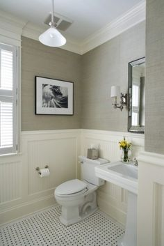 greige grasscloth + beadboard + basket weave tile. Love the wall color. Add a pop of color with towels and a picture