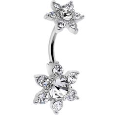 Clear Gem Double Flower Top Mount Belly Ring | Body Candy Body Jewelry