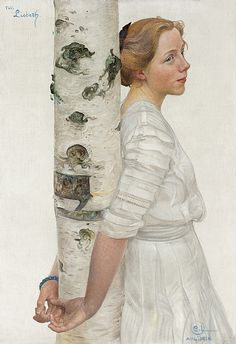 Carl Larsson....love the white dress, the white birch, and her peaceful expression - Art Curator & Art Adviser. I am targeting the most exceptional art! Catalog @ http://www.BusaccaGallery.com