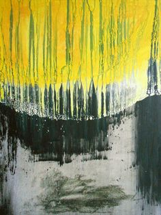 """Fine Art OOAK Contemporary Modern Landscape Stretched Canvas Acrylic Painting 18x24 """" Meteor Rain"""