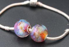 """Big hole beads / Two lampwork beads /  """"Galaxy.Nebula'' / Pink, blue, topaz"""