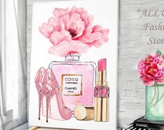 Spring fashion art - (Fashion Illustration Print - Fashion Sketch prints - Home Decor - Wall Decor - Fashionistas) Fashion Illustration Chanel, Illustration Mode, Illustrations, Art Chanel, Chanel Wall Art, Chanel Pink, Fashion Wall Art, Fashion Prints, Canvas Art Prints