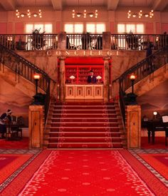 "Lobby shot of the Grand Budapest Hotel. ""We took our favorite pieces and combined them together,"" says Stockhausen. ""We did our own versi..."