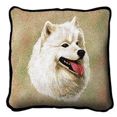 Samoyed Dog Portrait Pillow